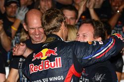 Sebastian Vettel, Red Bull Racing new world champion celebrates with the team, Christian Horner, Red Bull Racing, Sporting Director