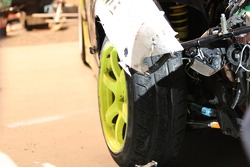 The damage after the Team Need For Speed Nissan S13 made contact with the wall