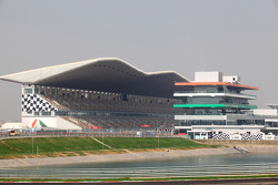 The main grandstand and pit building