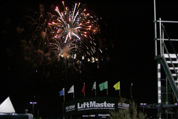 Fireworks over the back straight at Texas Motor Speedway