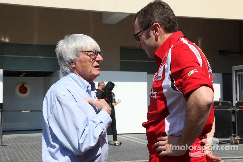 Stefano Domenicali Ferrari General Director with Bernie Ecclestone