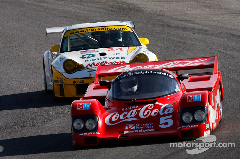 Lee Giannone 1985 Bob Akin Racing Porsche 962 closely followed by Jeff Lewis '04 GT3 RSR