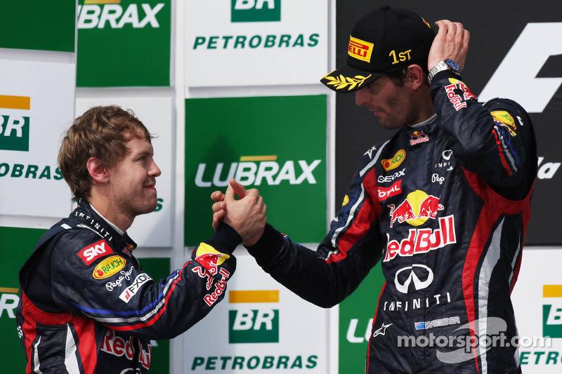 Podium: second place Sebastian Vettel, Red Bull Racing and race winner Mark Webber, Red Bull Racing