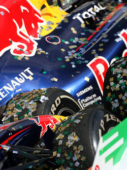 The Red Bull covered in confetti