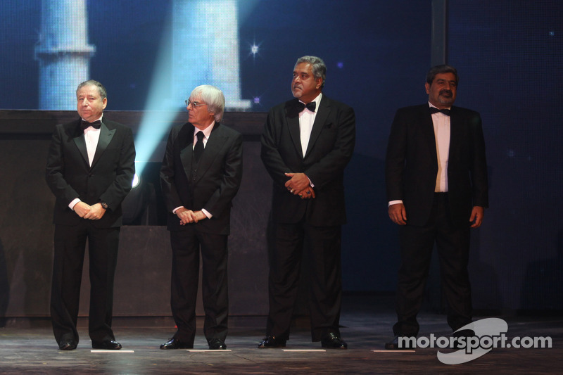 FIA President Jean Todt, FOM President Bernie Ecclestone, Force India Team Principal Vijay Mallya, F
