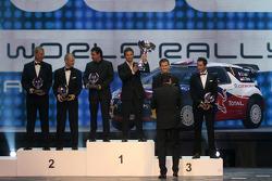 WRC champions Sébastien Loeb and Daniel Elena, second place, Mikko Hirvonen and Jarmo Lehtinen, third place Sébastien Ogier and Julien Ingrassia