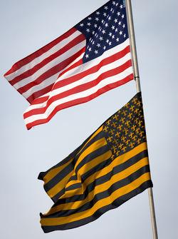 American flag on Krohn Racing transporter