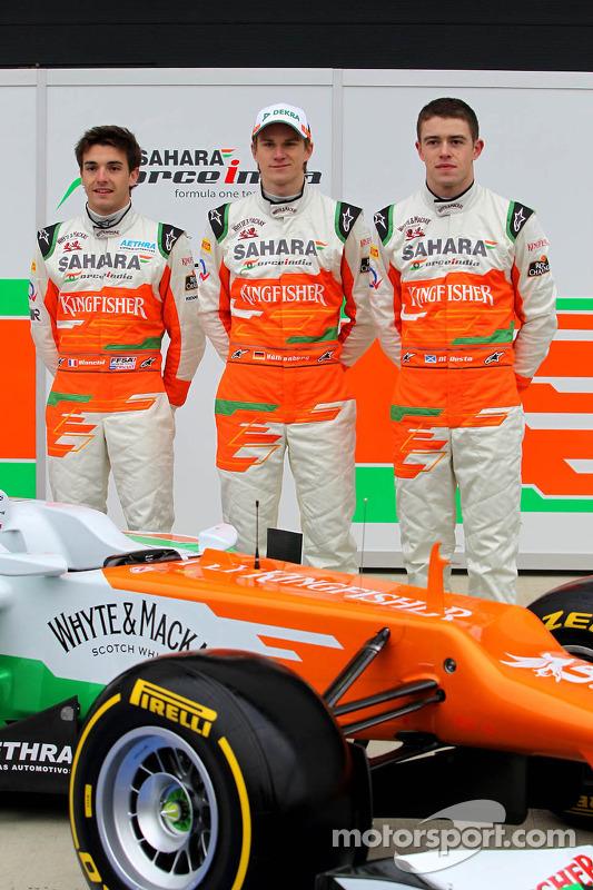Nico Hülkenberg, Jules Bianchi und Paul di Resta, Sahara Force India F1 Team