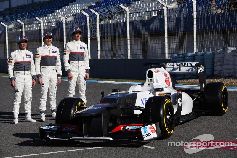 Kamui Kobayashi, Sauber F1 Team with Sergio Perez, Sauber F1 Team and Esteban Gutierrez, Sauber F1 T
