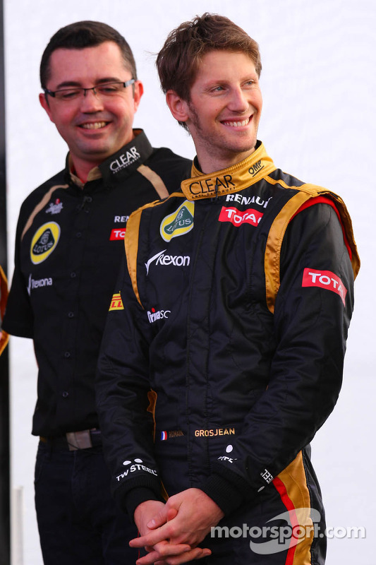 Lotus-Teamchef Eric Boullier mit Romain Grosjean, Lotus Renault F1 Team