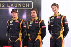 Kimi Raikkonen, Lotus Renault F1 Team met Jérôme d'Ambrosio, Lotus Renault F1 Team en Romain Grosjean, Lotus Renault F1 Team