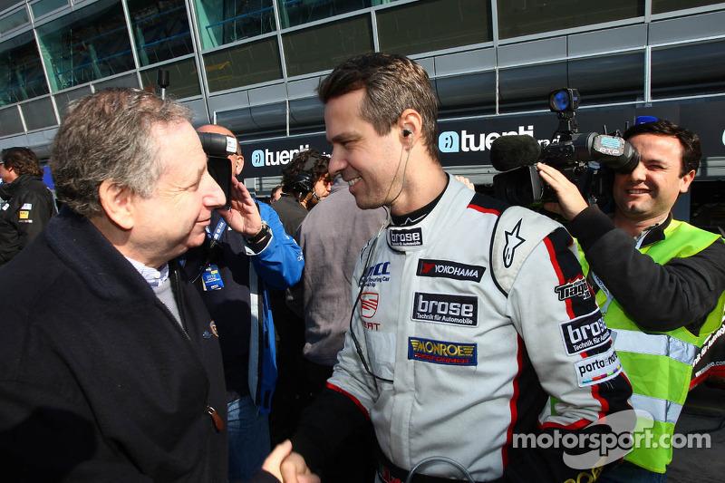Jean Todt, President FIA en Tiago Monteiro, SEAT Leon WTCC, Tuenti Racing Team