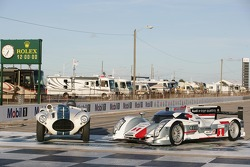 A 1952 Cunningham C4R with the 2012 Audi R18 e-tron quattro