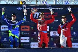Podium Race 2: Jeremy van Horebeek, Yamaha Factory Team; Tim Gajser, Team HRC dan Evgeny Bobryshev, Team HRC