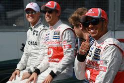 Michael Schumacher, Mercedes GP with Jenson Button, McLaren Mercedes, Sebastian Vettel, Red Bull Racing and Lewis Hamilton, McLaren Mercedes