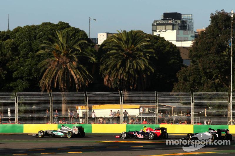 Nico Rosberg, Mercedes GP, Mark Webber, Red Bull Racing and Pastor Maldonado, Williams F1 Team