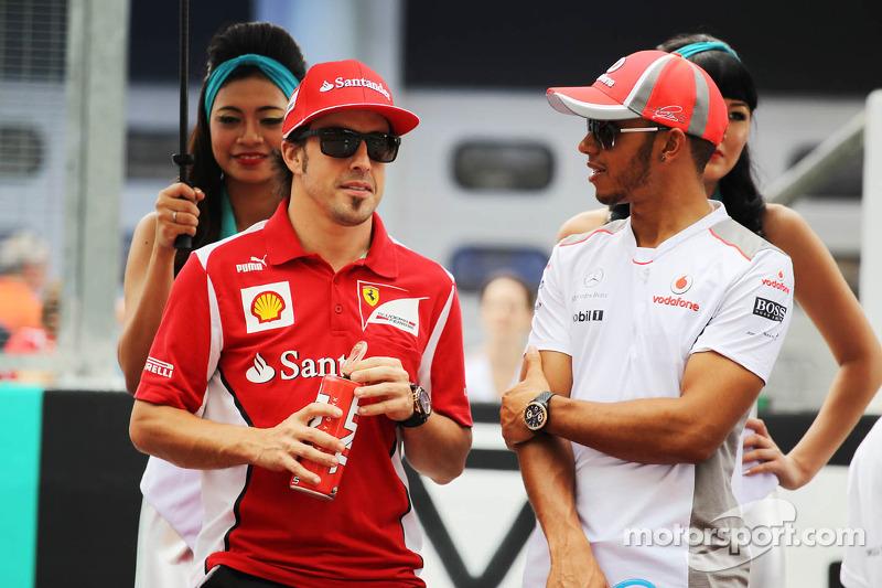 Fernando Alonso, Ferrari en Lewis Hamilton, McLaren rijdersparade