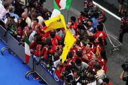 Ferrari team celebrate at parc ferme after Fernando Alonso, Ferrari won the race
