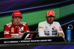 Fernando Alonso, Ferrari and Lewis Hamilton, McLaren in the FIA Press Conference
