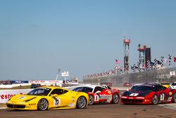 #23 Ferrari of Central Florida 458TP: Onofrio Triarsi leads #8 Ferrari of Ft Lauderdale 458TP and #4 Ferrari of Beverly Hills 458TP: Chris Ruud