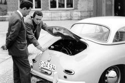 Ferry Porsche (left) with his eldest son Ferdinand Alexander in the rear of the Porsche Typ 356 A Carrera Hardtop (1958)