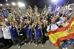 Yamaha Factory Racing team members celebrate