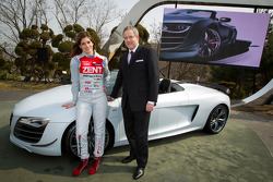 Cyndie Allemann and Audi Korea Managing Director Trevor Hill with the Audi R8 GT Spyder