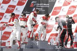 Podium: race winners Stéphane Ortelli, Laurens Vanthoor, second place Frank Stippler, Oliver Jarvis, third place Markus Winkelhock and Marc Basseng