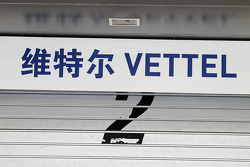 Pit garage sign for Sebastian Vettel, Red Bull Racing