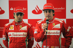 Felipe Massa, Scuderia Ferrari with team mate Fernando Alonso, Scuderia Ferrari at a Santander Press