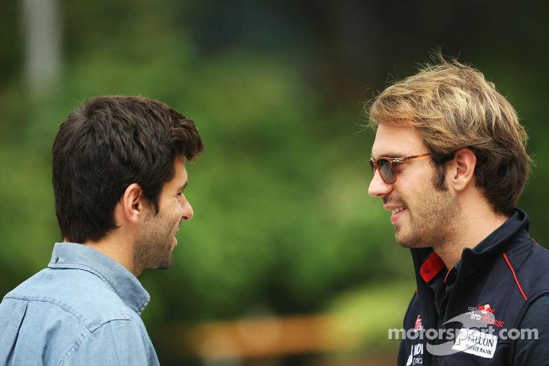Jaime Alguersuari, BBC Radio 5 Live Expert met Jean-Eric Vergne, Scuderia Toro Rosso
