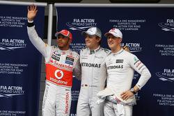 Qualifying parc ferme top three, Lewis Hamilton, McLaren, second; Nico Rosberg, Mercedes AMG F1, pole position; Michael Schumacher, Mercedes AMG F1, third