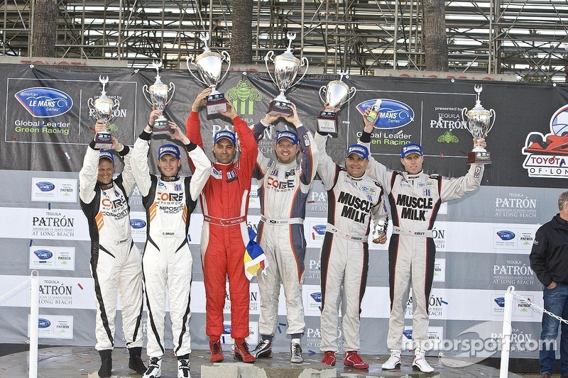 ALMS Prototype Challenge Podium: winners Alex Popow, Ryan Dalziel, second place Mike Guasch, Memo Gidley, third place Jonathan Bennett, Colin Braun