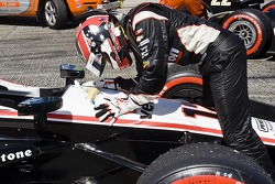 Will Power thanks his car after he wins