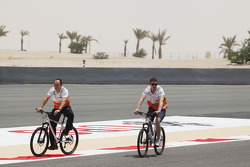 Paul di Resta, Sahara Force India F1 cycles the circuit with Gianpiero Lambiase, Sahara Force India F1 Engineer