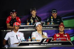 Timo Glock, Marussia F1 Team; Romain Grosjean, Lotus F1 Team; Heikki Kovalainen, Caterham; Lewis Hamilton, McLaren; Nico Rosberg, Mercedes AMG F1; Felipe Massa, Ferrari
