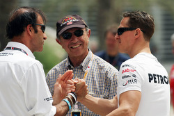 Emanuele Pirro, FIA Steward with Jo Ramirez, and Michael Schumacher, Mercedes AMG F1