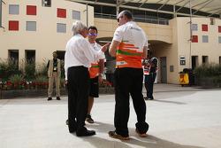 Bernie Ecclestone, CEO Formula One Group, talks with members of the Sahara Force India F1 Team