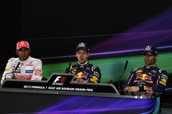 The FIA Press Conference, McLaren Mercedes, second; Sebastian Vettel, Red Bull Racing, pole position; Mark Webber, Red Bull Racing, third