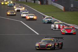 Pace lap: #11 Gainer Audi R8 LMS Ultra: Tetsuya Tanaka, Katsuyuki Hiranaka leads the GT300 field