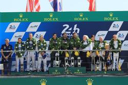 GTE Pro podium: first place Darren Turner, Jonathan Adam, Daniel Serra, Aston Martin Racing, second place Andy Priaulx, Harry Tincknell, Pipo Derani, Ford Chip Ganassi Racing, third place Jan Magnussen, Antonio Garcia, Jordan Taylor, Corvette Racing