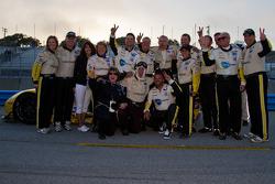 Corvette crew celebrating after winning back to back ALMS races