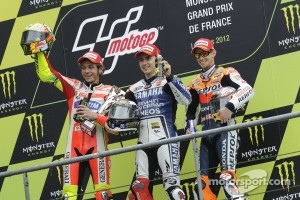2012 French GP podium: Race winner Jorge Lorenzo, Yamaha Factory Racing, second place Valentino Rossi, Ducati Marlboro Team, third place Casey Stoner, Repsol Honda Team
