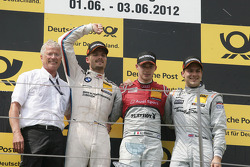 Podium, Arno Zensen, Team chief Audi Sport Team Rosberg, 2nd Martin Tomczyk, BMW Team RMG BMW M3 DTM, 1st Edoardo Mortara, Audi Sport Team Rosberg Audi A5 DTM, 3rd Gary Paffett, Team HWA AMG Mercedes, AMG Mercedes C-Coupe