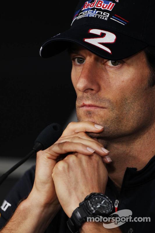 Mark Webber, Red Bull Racing in de FIA persconferentie
