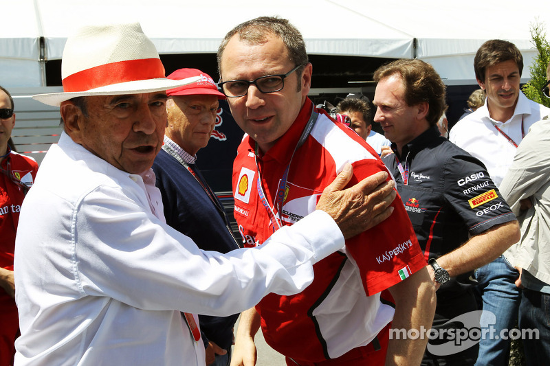 Emilio Botin, Santander Chairman met Stefano Domenicali, Scuderia Ferrari General Director