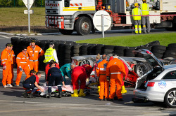 Aftermath of the crash between #81 AF Corse Ferrari 458 Italia and #8 Toyota Racing Toyota TS 030 - Hybrid: Anthony Davidson safe on a stretcher
