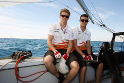 Nico Hulkenberg, Sahara Force India F1 and Paul di Resta, Sahara Force India F1 on the Aethra America's Cup Boat