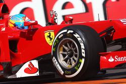 Fernando Alonso, Scuderia Ferrari waves to the fans