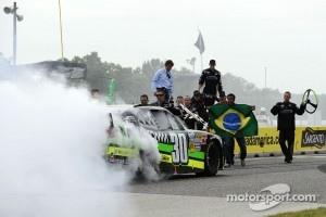 Race winner Nelson Piquet Jr. celebrates